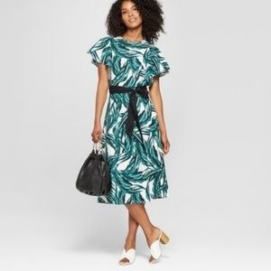 WHO WHAT WEAR PALM LEAF DRESS L